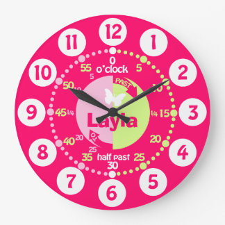 Girls learn to tell time red pink green name clock
