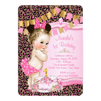 Girls Leopard 1st Birthday 5x7 Paper Invitation Card