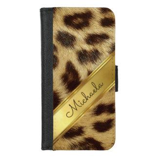 Girls Leopard Faux Fur Monogram Elegant Gold iPhone 8/7 Wallet Case
