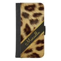 Girls Leopard Faux Fur Monogram Mod iPhone 8plus iPhone 8/7 Plus Wallet Case