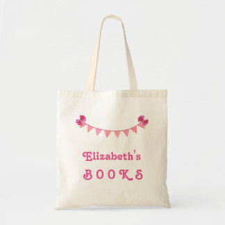 Girl's Library Book Bag Pink Bunting Banner V01