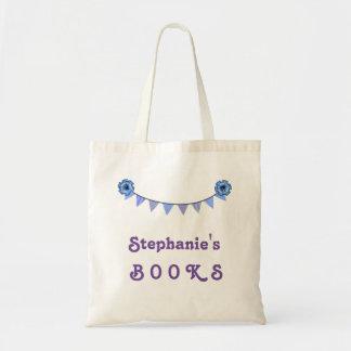 Girl's Library Book Bag Purple Bunting Banner V02