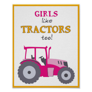 Girls like tractors too nursery pink tractor print