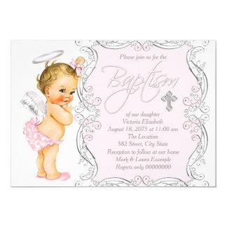 Girls Little Angel Baptism 5x7 Paper Invitation Card