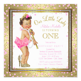 Girls Little Lady 1st Birthday Party Pink Gold Card
