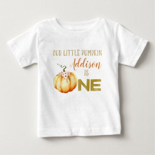 Girls Little Pumpkin 1st Birthday T_shirt