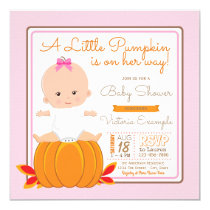 Girls Little Pumpkin Baby Shower Invitation