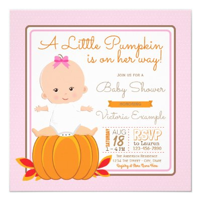 Little Pumpkin Girls Fall Baby Shower Invitations   Zazzle