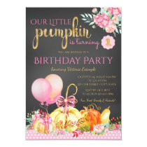 Girls Little Pumpkin Chalkboard 1st Birthday Card