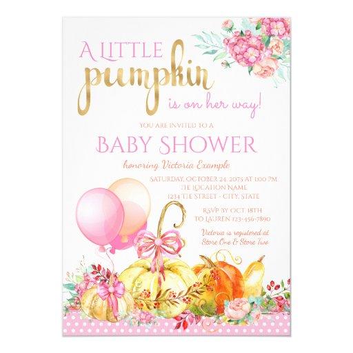 girls little pumpkin fall baby shower invitations zazzle