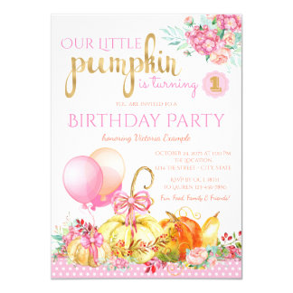 Girls Little Pumpkin First Birthday Card