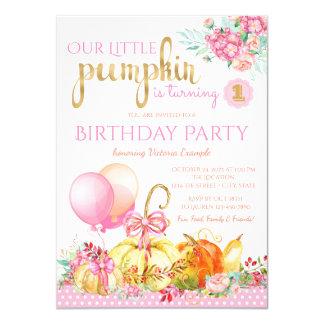 Girls Little Pumpkin First Birthday Card