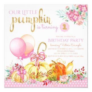 Pumpkin First Birthday Invitations Announcements Zazzle
