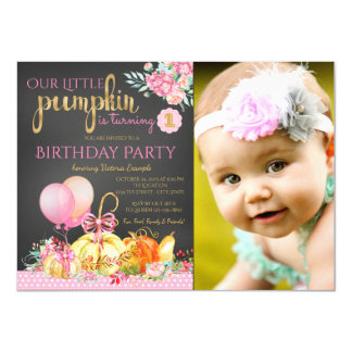 Girls Little Pumpkin Photo First Birthday Card