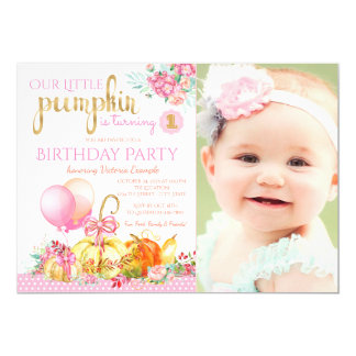 Girls Little Pumpkin Photo First Birthday Party Card