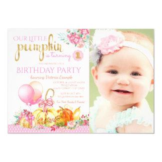 Girls Little Pumpkin Photo First Birthday Party Card