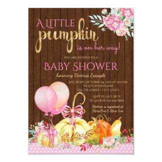 Girls Little Pumpkin Rustic Wood Fall Baby Shower Card