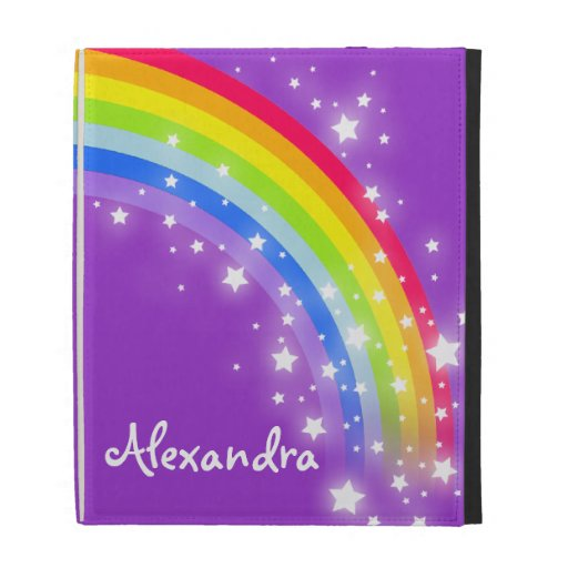 Girls long name rainbow purple ipad folio case