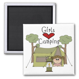 Girls Love Camping 2 Inch Square Magnet