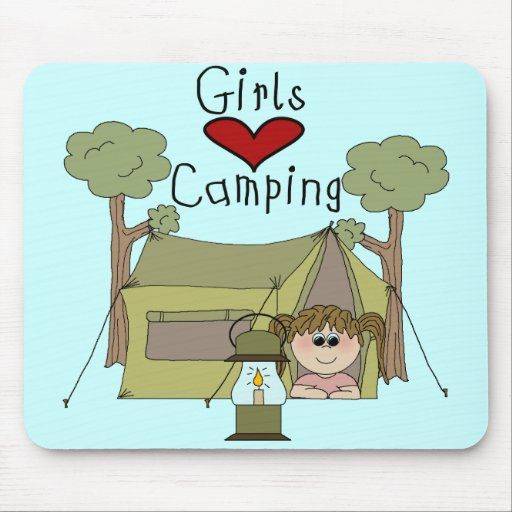 Girls Love Camping Mouse Pad