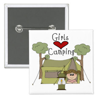 Girls Love Camping Pinback Button