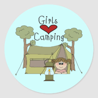 Girls Love Camping Stickers