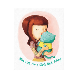 Girls love Cats. Blue Cats Gallery Wrap Canvas
