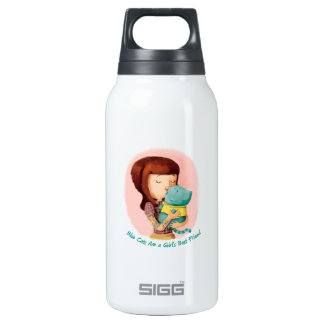 Girls love Cats. Blue Cats Insulated Water Bottle