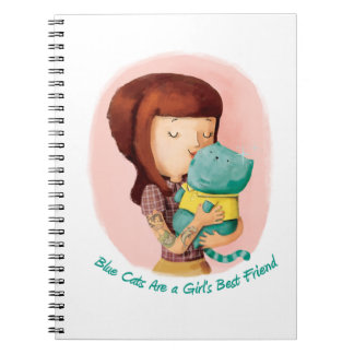 Girls love Cats. Blue Cats Spiral Note Book
