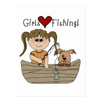 Girls Love Fishing Postcard