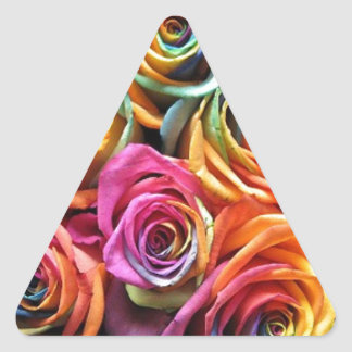 Girls love flowers! triangle stickers