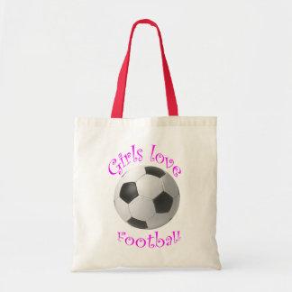 Girls Love Football art Canvas Bags