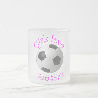 Girls Love Football art Frosted Glass Coffee Mug
