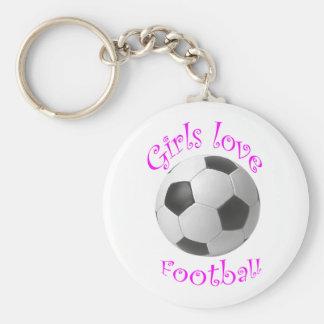 Girls love football art gifts keychain