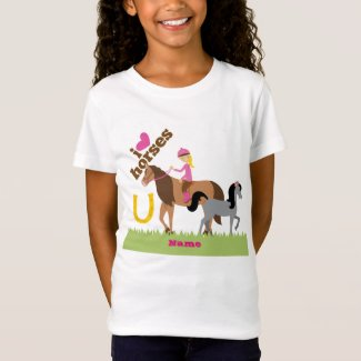 Girls Love Horses Cute Gift Personalized T-Shirt