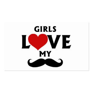 Girls Love My Mustache Business Card Template