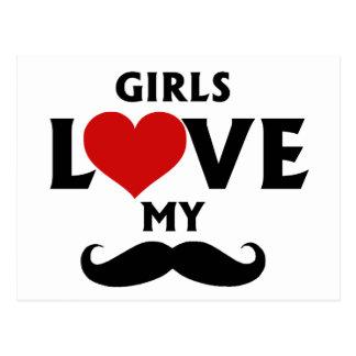 Girls Love My Mustache Postcard