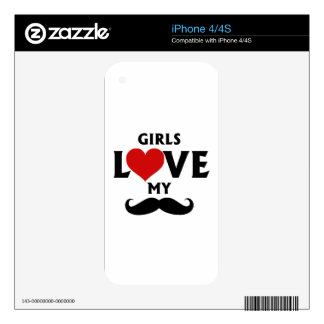 Girls Love My Mustache Skins For The iPhone 4S