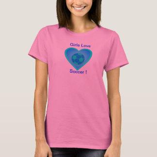 Girls love Soccer - Blue Design T-Shirt