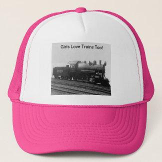 Girls Love Trains Too! Steam Engine Train Trucker Hat