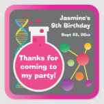 Girl's Mad Science Lab Birthday Party Favor Square Sticker