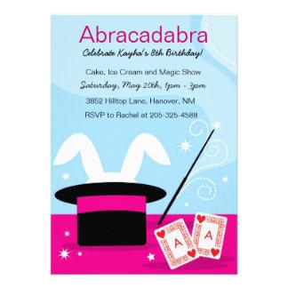 Girl's Magic Show Birthday Party Invitations