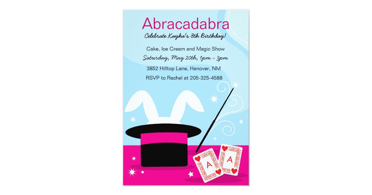 Girl\'s Magic Show Birthday Party Invitations | Zazzle.com