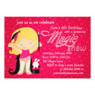 Girls Magic Theme Birthday Custom Invitation
