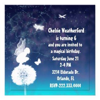 Girl's Magical Fairy Birthday Party Invitation