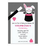 Girl's Magician Birthday Party - Rabbit In A Hat Personalized Invite