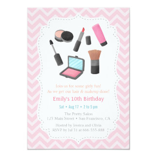 Girls Makeover Birthday Party Invitations