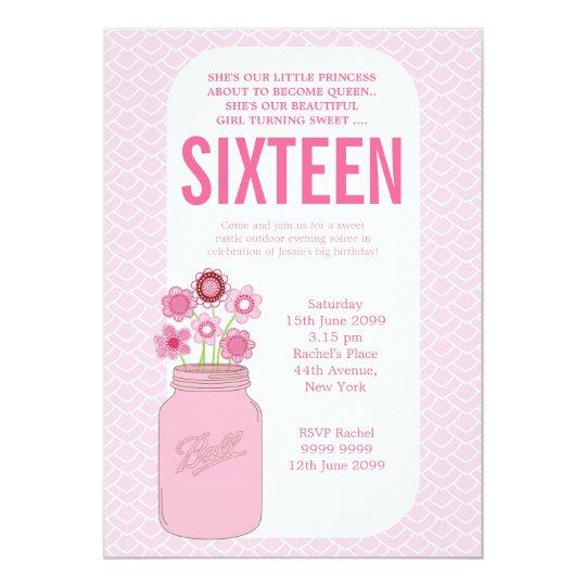 Girls Mason Jar Sweet 16 Birthday Party Invite