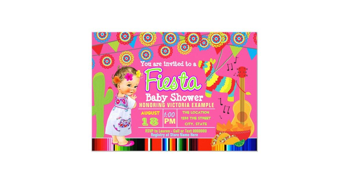 Girls Mexican Fiesta Baby Shower Invitations | Zazzle.com