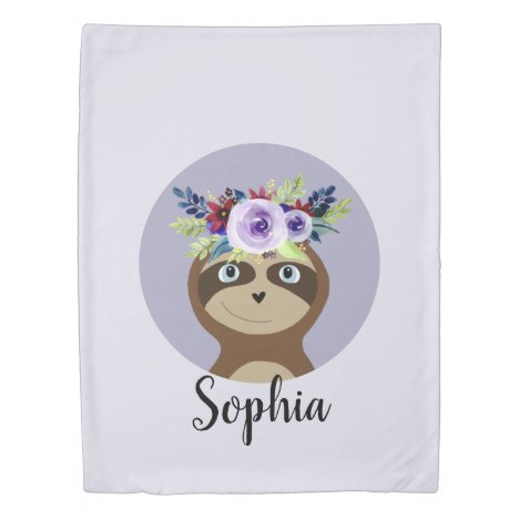 Girls Modern Watercolor Flower Sloth and Name Duvet Cover
